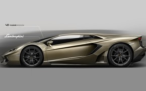 Picture Auto, Figure, Lamborghini, Machine, Background, Car, Car, Art, Art, Aventador, Lamborghini Aventador, Rendering, Side view, …