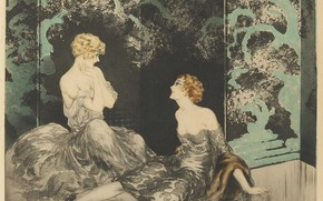 Picture 1928, Louis Icart, The proximity, blonde and redhead