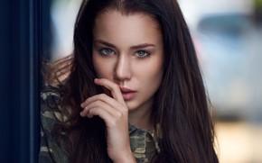 Picture look, face, model, hand, portrait, makeup, hairstyle, brown hair, beauty, bokeh, Paulina, Ariel Grabowski