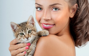 Picture cat, girl, close-up, smile, background, makeup, hairstyle, brown hair, kitty