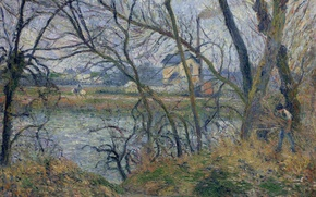 Picture landscape, branches, house, river, picture, Camille Pissarro, Banks of the Oise near PONTOISE. Cloudy Weather