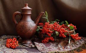 Picture autumn, berries, pitcher, still life, Rowan