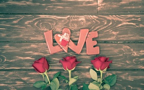 Picture hearts, red, love, heart, wood, romantic, Valentine's Day, gift, roses, red roses