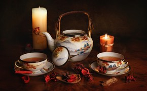 Picture tea, candles, kettle, Cup, twilight