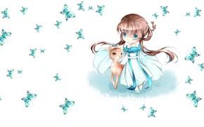 Picture butterfly, anime, deer, art, girl, baby, children's