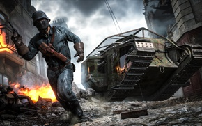 Picture war, the game, soldiers, the ruins, tank, the battle, Electronic Arts, Battlefield 1