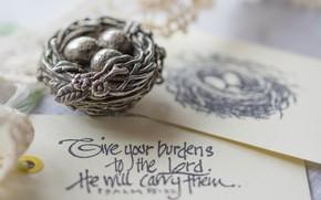 Picture paper, the inscription, eggs, socket