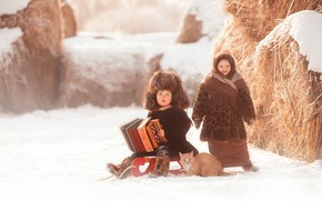 Picture winter, cat, snow, hat, boy, village, hay, girl, shawl, accordion