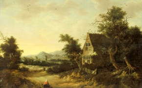 Picture tree, oil, picture, Hilly Landscape with Peasant House, Cornelis van Switen
