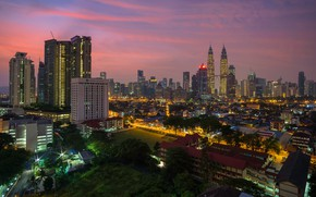 Picture the sky, trees, sunset, lights, home, the evening, Malaysia, Kuala Lumpur