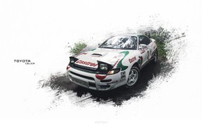 Picture rain, photo, Forest, Toyota, Photoshop, art, Celica GT-Four, Novosibirsk, cloudy sky, Kotovv