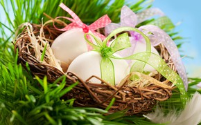Picture basket, eggs, Easter