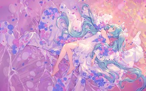 Picture vocaloid, hatsune miku, dismounted,