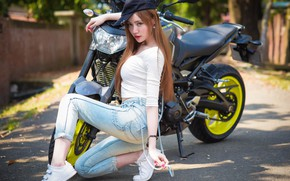 Picture summer, face, style, hair, figure, motorcycle, Asian, cutie