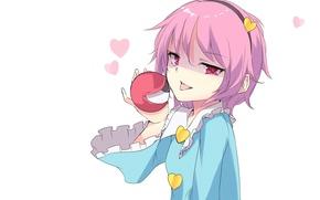 Picture language, being, girl, hearts, white background, touhou, art, bezel, pink hair, Touhou Project, Komeiji Satori, …