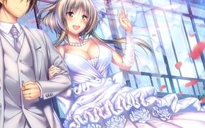 Picture petals, neckline, beads, blush, veil, art, wedding dress, visual novel, the bride and groom, Amakano, …