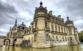 Picture lake, castle, France, Chateau de Chantilly