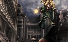 Picture girl, gun, blood, pistol, soldier, military, weapon, war, anime, fight, blonde, asian, manga, gloves, pearls, …