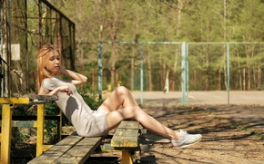 Picture summer, bench, face, hair, legs, Lena