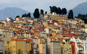Picture France, mountains, Menton, home
