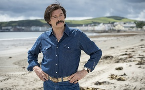 Picture cinema, beach, sea, man, sand, movie, film, mustache, suna, Julian Barratt, Mind horn