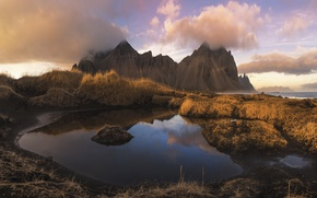Picture mountains, morning, Iceland, Iceland, Stokksnes