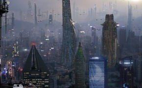 Picture architecture, skyscrapers, megapolis, could, Commission Art City 1 of 10