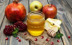 Picture apples, Bank, still life, honey, garnet