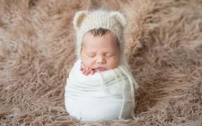 Picture child, sleep, sleeping, fur, cocoon, cap, baby