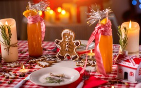 Picture holiday, new year, candles, gingerbread, Christmas treats