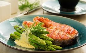Picture sauce, salmon, asparagus