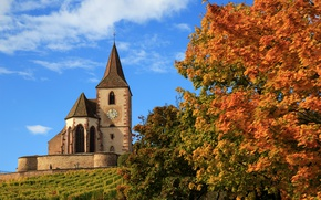 Wallpaper autumn, trees, France, Church, France, Hunawihr, The hunawihr, Church of Saint-Jacques-Le-Mazher, Church Saint-Jacques-le-Majeur