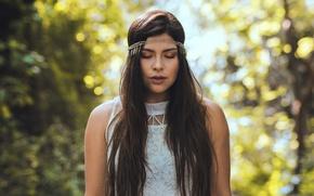 Picture girl, portrait, brunette, long hair
