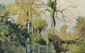 Picture Camille Pissarro, picture, trees, Landscape with a Peasant