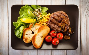 Picture greens, lemon, mushrooms, bread, meat, tomato, toast, tomatoes, meat, vegetables