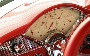 Picture Chevrolet, Car, Bel Air, 1955, Chrome, Dashboard, Instrumentation, Red cabin