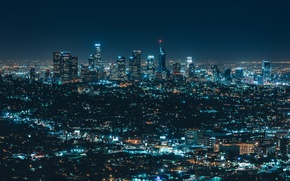 Picture city, lights, night, streets, buildings, skyscrapers