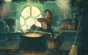 Picture cat, David Revoy, hat, cat, comics, witch, witch, broom, pot, Pepper and Carrot, comic book …