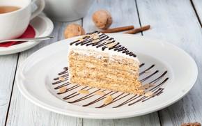 Picture tea, chocolate, cake, nuts, Esterhazy