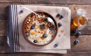 Picture Breakfast, blueberries, nuts, honey, muesli, yogurt