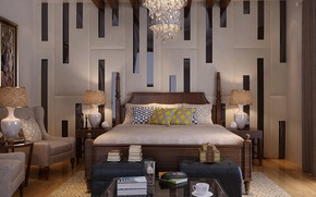 Picture design, table, the room, BEDROOM, RESIDENTIAL VILLA