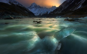 Picture mountains, river, ice, stream