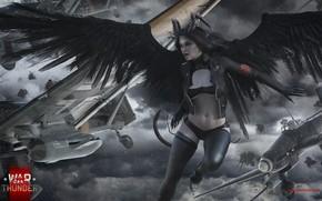Picture girl, aircraft, angel, warthunder, hibikirus, demones