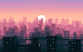 Wallpaper Sunset, The sun, Music, The city, Pixels, Synthpop, 8Bit, Darkwave, Synth, Retrowave, Synthwave, Synth pop, ...