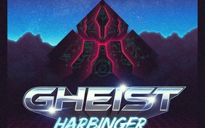 Picture the sky, stars, signs, grille, harbinger, synth wave, gheist
