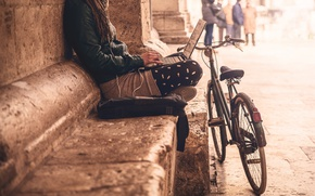 Picture city, girl, bike, loneliness, social life