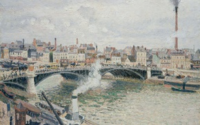 Picture Camille Pissarro, river, Morning. Cloudy Day. Rouen, home, bridge, the urban landscape, picture