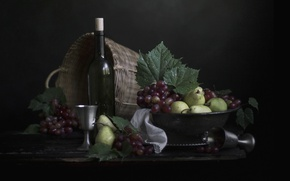 Picture wine, grapes, fruit, still life, pear