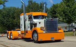 Picture Orange, White, Peterbilt, Hrome