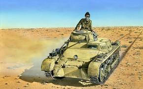 Picture Desert, tank, The second World war, easy, German, DAK, German Afrika Korps, Tanker, Pz.Kpfw. And